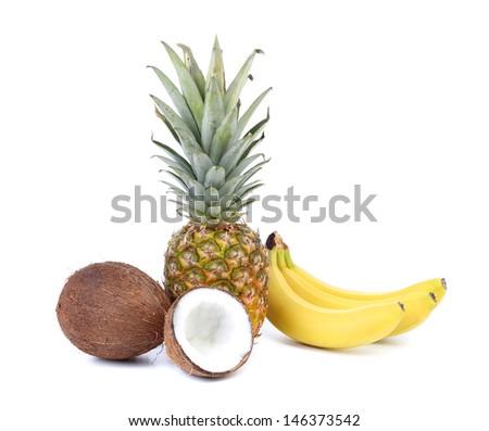 Coconut, banana and pineapple.