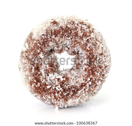Coconut chocolate donut isolated on white