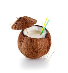 Coconut cocktail isolated on white background.