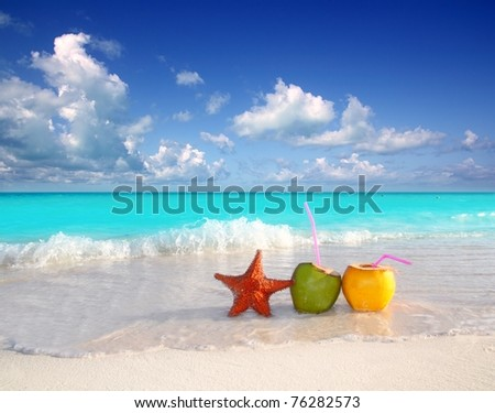 coconut cocktails juice and starfish in tropical aqua beach Caribbean [Photo Illustration]