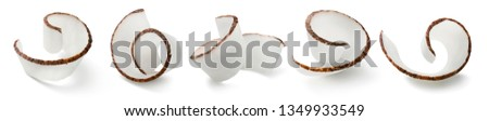 Coconut curl slices collection isolated on white background. Package design elements with clipping path