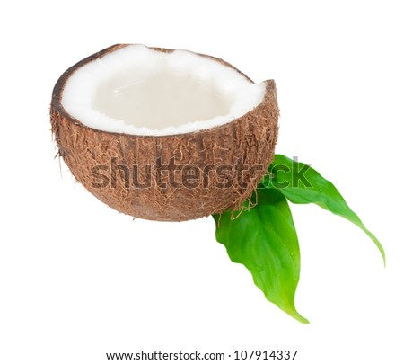 coconut filled with fresh juice isolated on white background