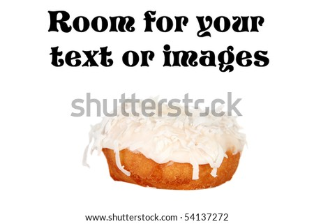 coconut glazed cake donut  isolated on white with room for your text or images