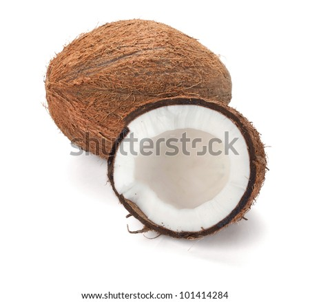 Coconut. Isolated on white background - stock photo