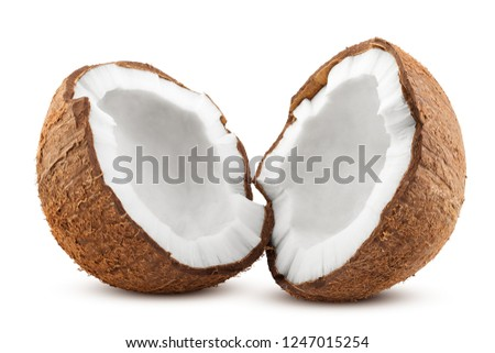 coconut, isolated on white background, full depth of field