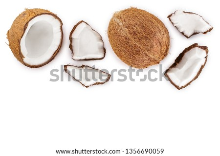 coconut isolated on white background with copy space for your text. Top view. Flat lay