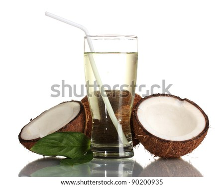 Coconut juice and coconut isolated on white