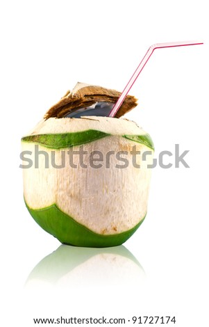 coconut juice with white background