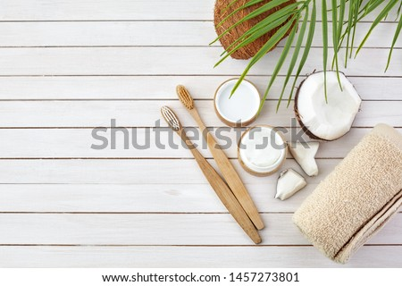 Coconut oil and mint homemade toothpaste, eco friendly bamboo toothbrush, natural healthcare. #1457273801