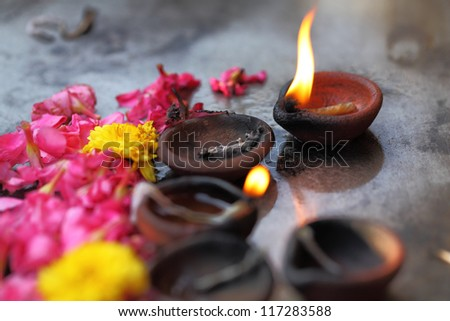 Coconut oil lamps in kapaleeswarar temple, chennai ,India.