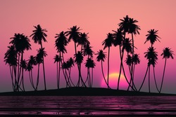 coconut palms at pink tropical sunset over calm sea
