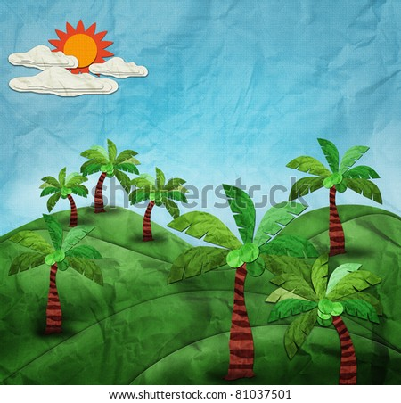 coconut park vintage style on blue sky created by recycle paper craft stick