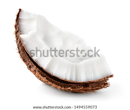 Coconut piece isolated. Coconut slice.