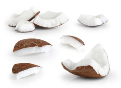 Coconut pieces isolated on a white background. Collection.