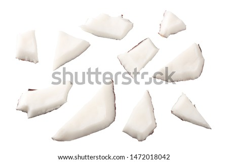 Coconut pieces isolated on white background. top view