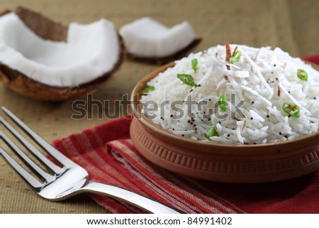 coconut rice,south indian food - stock photo