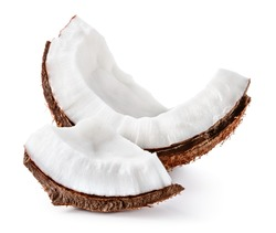 Coconut slice. Coco pieces isolated on white background.