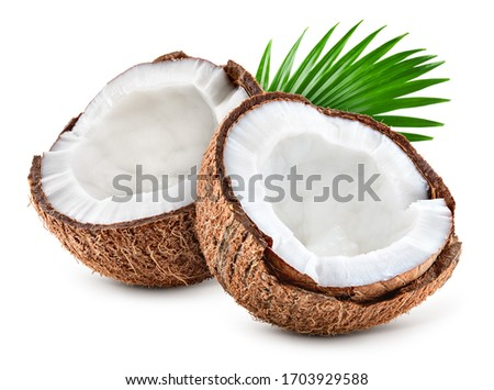 Coconut slice. Coco pieces isolated on white. Coconut with leaves. Full depth of field. Foto stock ©