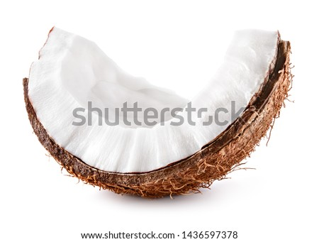Coconut slice. Coconut piece isolated. Coco on white.