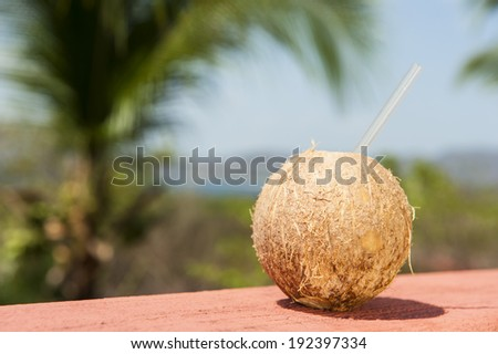 Coconut water drink with tropical ocean landscape