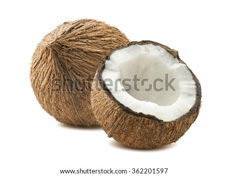 Coconut whole cut half composition isolated white background as package design element #362201597