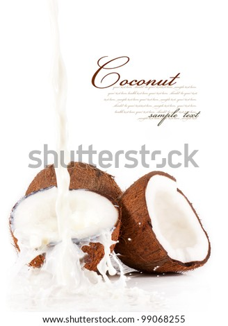 Coconut with coconut milk splash.isolated on a white background