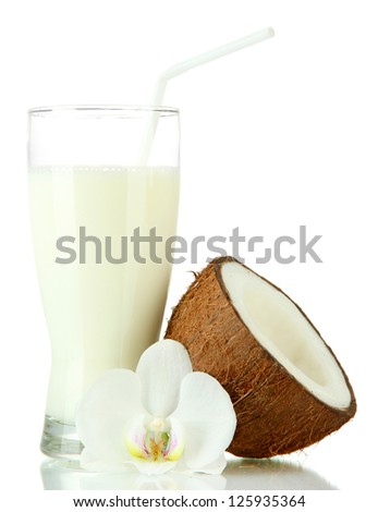 Coconut with glass of milk, isolated on white