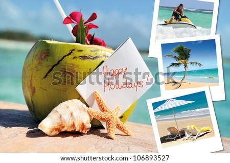 coconuts cocktail, starfish, sea outdoor with hlidays pics