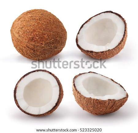 Shutterstock Coconuts isolated on white background. Collection.
