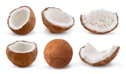 Coconuts isolated on white background. Collection. Set.