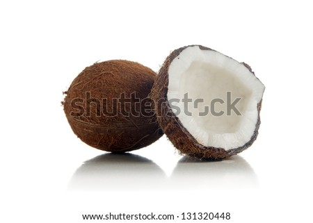 Coconuts on a white background. Coconut is tasty tropic fruit.