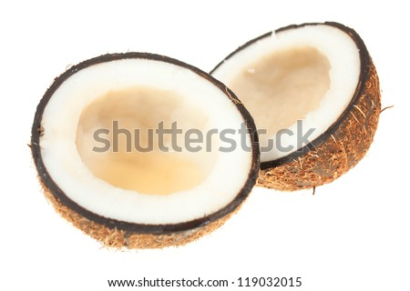 Coconuts on a white background. section
