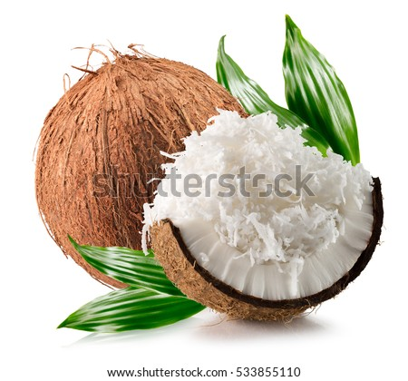 Shutterstock coconuts with coconuts flakes isolated on the white background