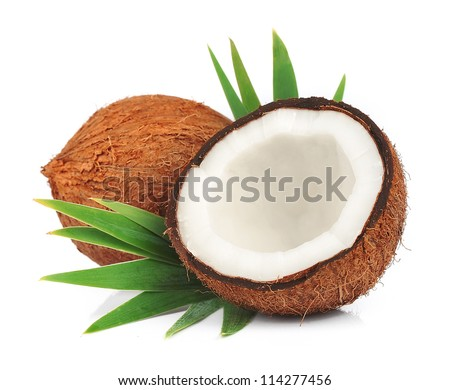 Coconuts with leaves on a white background