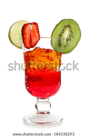Coctail in a glass with raw fruit
