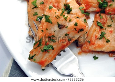 Cod dish typical Easter - stock photo
