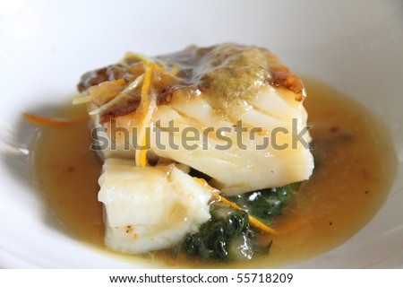 Cod fillet with vegetables and  sauce,State run hotel Santa Catalina castle Andalusia Spain