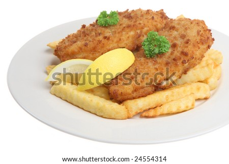 Cod fillets with crinkle-cut chips