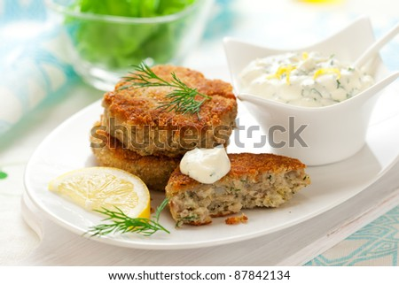 Cod Fish Cakes with sauce