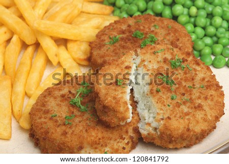 Cod fishcakes with fries and peas