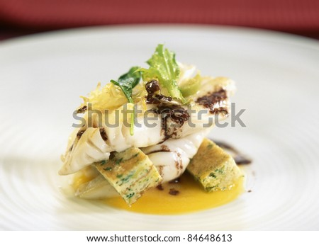Cod with carrot puree and green olive omelette