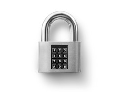 Code locked padlock on the white background. concept security