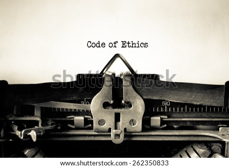 Code of Ethics and Conduct typed on vintage typewriter
