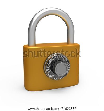 Code padlock isolated on white background