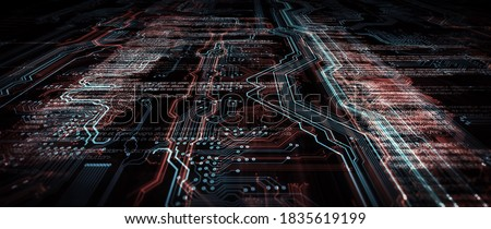Code processing in circuit board abstract server. Data moves in the form of moving lines. The movement and processing of data inside a server or computer. 3d rendering