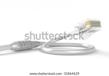 Coded lock on a network cable, on a white background