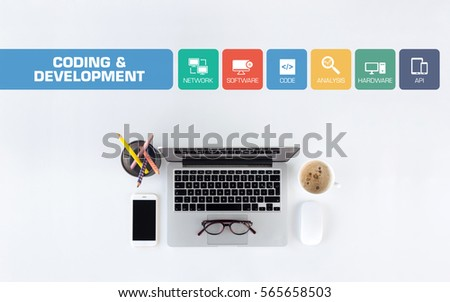 Coding and Development Concept with Icon Set #565658503