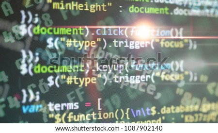 Coding application by programmer developer. Script on computer with source code. Programming code abstract background screen of software. Digital chaos #1087902140