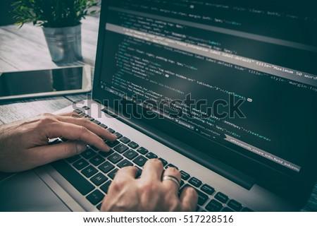 Photo of  coding code program programming compute coder work write software hacker develop man concept - stock image