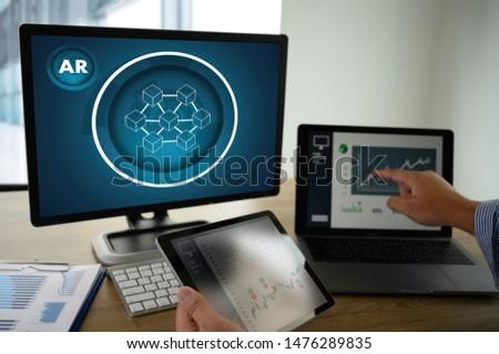 Coding software developer work with AR Developing programmer Team Development